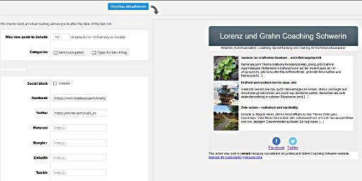 Screenshot: Template aus dem Newsletter-Plugin